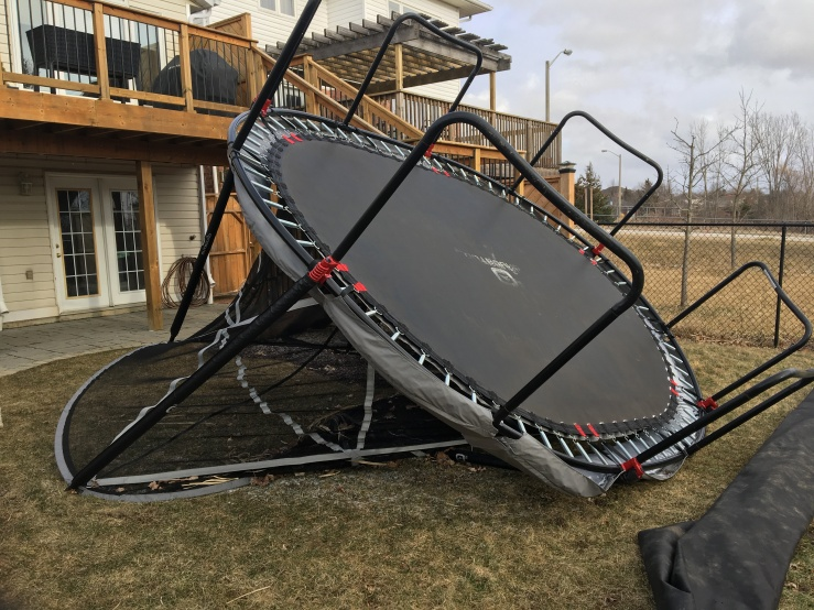 trampoline flipped over after a wind storm